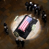 Pres Ford casket in US Capitol Rotunda.
