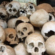 Remains of killing field in Cambodia